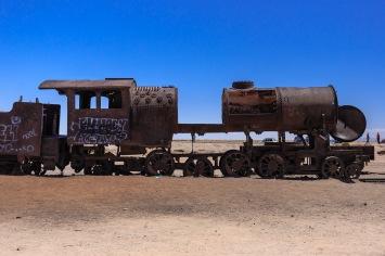 Locomotiva abandonada no Cemitério de Trens.