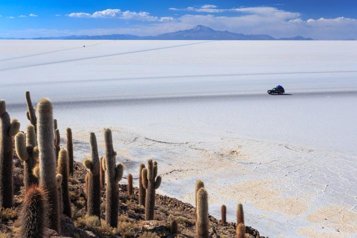 Várias trilhas marcadas pela borracha dos pneus marcam o Salar de Uyuni.