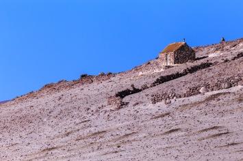 Uma casa de apoio próxima à Laguna Colorada.